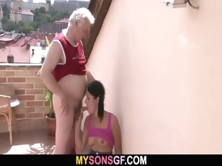 amateur Horny dad bangs his son\'s GF cuckold video