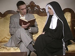 european Shy Nun gets her ass fucked and face spermed stockings video