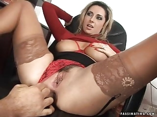 anal Secretary Mandy in red high heel sandals screws her boss milf video